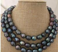 Livraison gratuite magnifique 12-13mm tahitian black pearl necklace 38inch silver 925