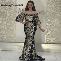 Longo Ouro Preto Sereia Árabe Dubai Mulher Glitter Prom Dress 2019 Formal Elegante Evening Party Vestido robe longue manche longue