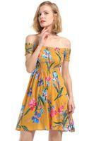 Женские без бретелек сексуальные цветочные напечатанные эластичные платья женские лето с плеча повседневные вечерние платья бесплатная доставка