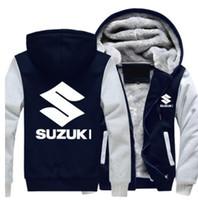 Erkek beyzbol Kış Coat SUZUKI Motosiklet Ceket ve Polar Sweatshirt Fermuar Kapüşonlular Erkek Kalın Sıcak Ceket Dış Giyim Coat