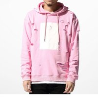 Pink Hole Hoodies Sudaderas Mens Hip Hop Hoodies Sweat Chándal Bore Cotton