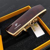 Luxe mode marque nouvelle qualité COHIBA jaune métal 3 torche JET flamme cigare allume-cigare avec poinçon