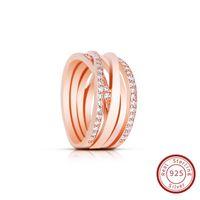 Fascino di fidanzamento Anello in argento sterling S925 Nuovo Anello in PANDORA intrecciato Anello in oro rosa con Clear CZ Jewelry 180919CZ
