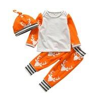 Noel yenidoğan bebek giysileri set bebek yürüyor geyik kafası saf pamuk uzun kollu romper + pantolon + şapka 3 adet set çocuklar rahat kıyafetler