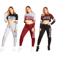 f3bcaa823a476 Wholesale black cropped hoodie online - Love Letter Women Tracksuit set  Hoodie Pants Outfits Sportswear Hooded