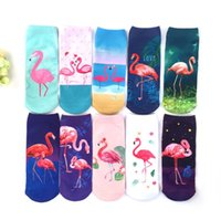 New 3D Print Casual Polyester Socks Flamingo Women Durable S...