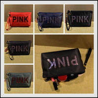 5 Colors Pink Cosmetic Bags Travel Makeup Bag Nylon Sequins ...