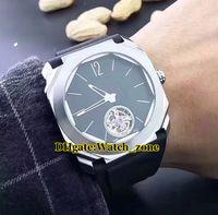 Octo Finissimo Tourbillon 102138 102346 Black Dial Automático Mens Watch Silver Case Pulseira De Couro de Alta Qualidade relógios de Pulso