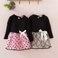 New Fashion Autumn Winter Girl Dress Polka Dot&Striped Princess Party Dresses Girls Kids Baby Clothes Children Clothing