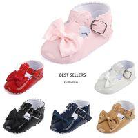 1 Pairs Çocuklar Kızlar İlk Yürüteçler Yenidoğan Yay-Düğüm Katı PU Bebek Toddlers Ayakkabı Çocuk