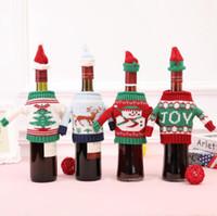쿨 스웨터 스타일 크리스마스 레드 와인 가방 모자 옷감 포함 클럽 맥주 샴페인 병 커버 장식 믹스 주문
