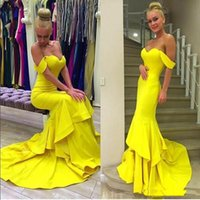 2017 Nueva Sexy Amarillo Cariño volantes satén sirena vestidos de baile vestidos de fiesta de noche formal robe de soirée