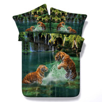 3D green two tigers bedding sets animal duvet cover silver g...