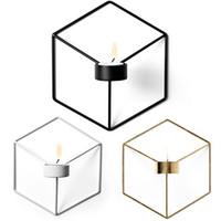 Venta al por mayor del envío 1 PCS 3D Geometría candelabro de metal pared hexagonal Candelero Decoración gratuito