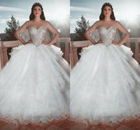 2018 Elegant Crystals Organza Arabic Ball Gowns Wedding Dres...