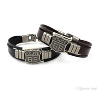 Classic Fashion ROUTE 66 Rivet Charm Bracelets Punk Retro Mu...