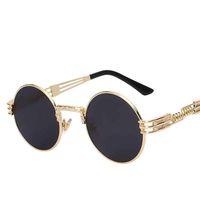 نظارات شمسية للرجال النساء المعادن القوطية steampunk التفاف نظارات جولة ظلال العلامة التجارية مصمم نظارات الشمس مرآة عالية الجودة uv400