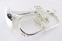 عالية الجودة الأمريكية flugelhorn الفضة مطلي ب شقة ب ب المهنية أعلى الآلات الموسيقية في النحاس trompete القرن