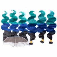 # 1B / azul / verde Ombre Virgin Pacotes cabelo com laço frontal Encerramento 13x4 tom escuro Raiz Três Ombre peruano do cabelo humano com Frontais
