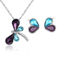 Charming Women Jewelry Set White Gold Plated AAA Blue Purple...