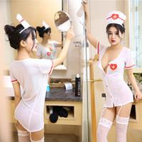 Goût Sous-vêtements Femmes Style Uniforme Sexy Séduction Pénétrant Cosplay Perspective Dentelle Infirmière Pyjama A104
