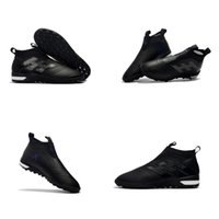 Plein noir Turbocharge Paquet Femmes Bottes De Football Plates ACE Tango D'origine 17+ Purecontrol TF / IC Indoor Enfants Chaussures De Football Messi Soccer Cleats
