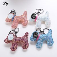Zlj Lovely Shiny Dogs Keychain for Women Fashion Sequins Car...