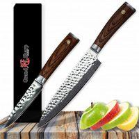 GRANDSHARP Kochmesser Set 2 tlg Koch Gemüsemesser Japanisch Damaskus Edelstahl vg10 Japanisch Damaskus Professionelle Küchenmesser