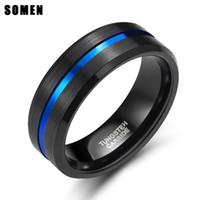 Somen 8mm blå linje män volfram karbid ring manlig engagemang bröllop ringar mode smycken masonic ringar grossist droppe sändning y1891205
