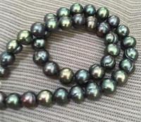 魅力的なタヒチアン10-11mm孔雀の緑の真珠のネックレス18インチ14Kゴールドクラスプ