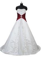 2018 Sexy Broderie Blanc et Rouge Robes de mariée A-Line avec la dentelle satin Up Plus Taille Robes de mariée Vestido de Novia Ba06