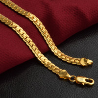 Wholesale 18K Real Gold Plated 5MM Snake Chain Necklace Leng...