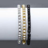 Braccialetto di catena d'oro ghiacciata per mens hip hop damond tennis gioielli singola fila rhinestone braccialetti 8inch