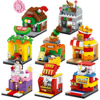 Mini tiendas callejeras Mcdonald's KFC helado Starbucks Family Mart Sport Tienda dulce UNIQLO Pizza Hut cola Circle Circle Building Blocks 4pcs / set