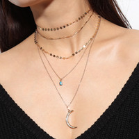 Multi- Layer Sexy Necklace Neck Strap Metal Gold Plated Link ...