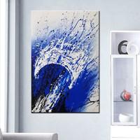 Dipinti a mano Modern Home Decor Wall Art immagini dipinte a mano dipinti ad olio astratti su tela di grandi dimensioni blu Graffiti pittura regali