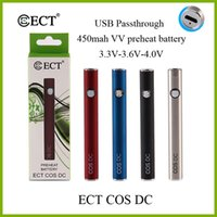 100% original ECT COS DC 450 mah usst passthrough precalentamiento de la batería 3.3V-3.6V-4.0V e cigarrillo de voltaje variable para los cartuchos vape