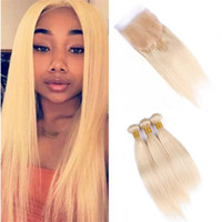 Color 613 Blonde Human Hair Bundles Straight Extensions with...