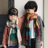 Autumn winter warm children scarf imitation cashmere plaid k...