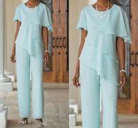 Longueur en mousseline de soie bleu élégante cheville mère des costumes pantalon de mariée avec mancherons Jewel cou volants de robes de la mère taille plus avec la veste