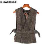 SHOWERSMILE Marca Tweed Woolen Chaleco Mujeres Chaqueta sin mangas Primavera Houndstooth V Cuello Chaleco Café Gris Gilet Femme