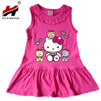 0752ce8c4 2017 Summer Girls Dress Hello Kitty Cartoon Kids Dresses For Girl Clothes  1-13Y Children Vestidos Costume Roupas Infantis Menina