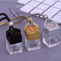 Sıcak satış Kare Shape Cam Oto Parfüm Şişeleri Pendant 5ml Parfüm Boş Asma Araç Yayıcı Şişe Ücretsiz nakliye