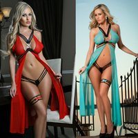 Sexy donne 3 pezzi Set Lingerie Scivola Giocattolo Exotic Queen Lingerie Costumi Intimo Sleepwear Intimo Garza trasparente Chest Split Gonna