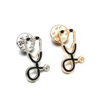 1 Adet Moda Tıbbi Erkek Kadın Emaye Stetoskop Doktor Hemşire Broş Pin Coat Yaka Rozeti Hediye