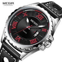 MEGIR Men' s Retro Waterproof Quartz Watches Fashion Lea...