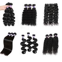 Ucuz Brezilyalı Saç Uzantıları İnsan Saç Paketler Bakire Saç Kıvırcık Vücut Dalga Düz Gevşek Dalga Su Dalga Toptan 3 Demetleri 1B Siyah