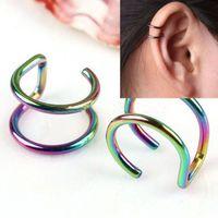 Pendientes Esmalte No Piercing Pendientes earcuff no clip del oído de las mujeres sin negro de plata Oro de la perforación 100pcs