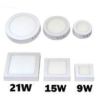 Ücretsiz nakliye 9W 15W 21W 30W Yuvarlak / Kare LED Panel Işıkları Yüzey SMD2835 Tavan Lambası Aşağı Işık LED Monteli