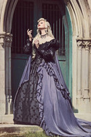 Grigio e nero Gothic Sleeping Beauty Halloween Medieval Fantasy Gown Abito da sposa Plus Size Lace-up manica lunga manica lunga abito da sposa gotico